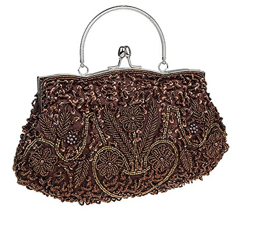 ThyWay Beaded Sequin Design Metal Frame Kissing Lock Satin Interior Evening Clutch (Coffee) -