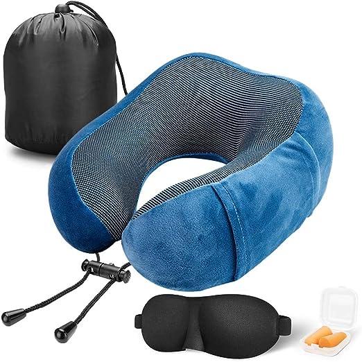 Memory Foam Travel Airplane Flight Neck Pillow With Eye Mask Earplugs Carry Bag.