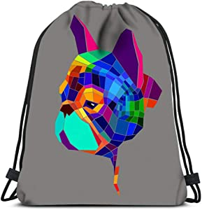 Drawstring Backpack Dog Breed Cute Pet Animal Bulldog French Laundry Bag Gym Yoga Bag