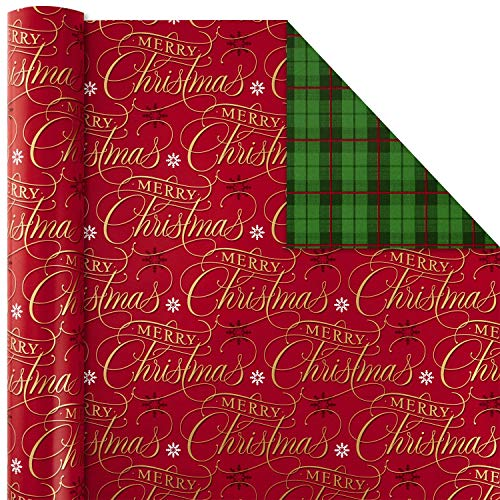 Huge Roll ~ MERRY & BRIGHT ~ Reversible Christmas Wrap ~ 375