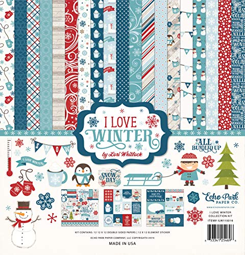 Echo Park Paper Company I I Love Winter Collection - Patterned Christmas