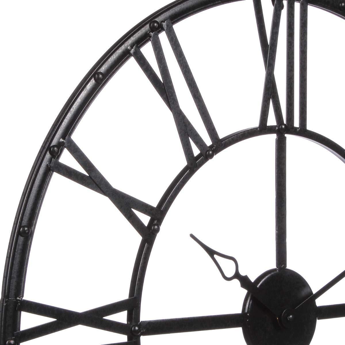 diam/ètre 70 cm Grande horloge pendule murale en m/étal style vintage Coloris NOIR
