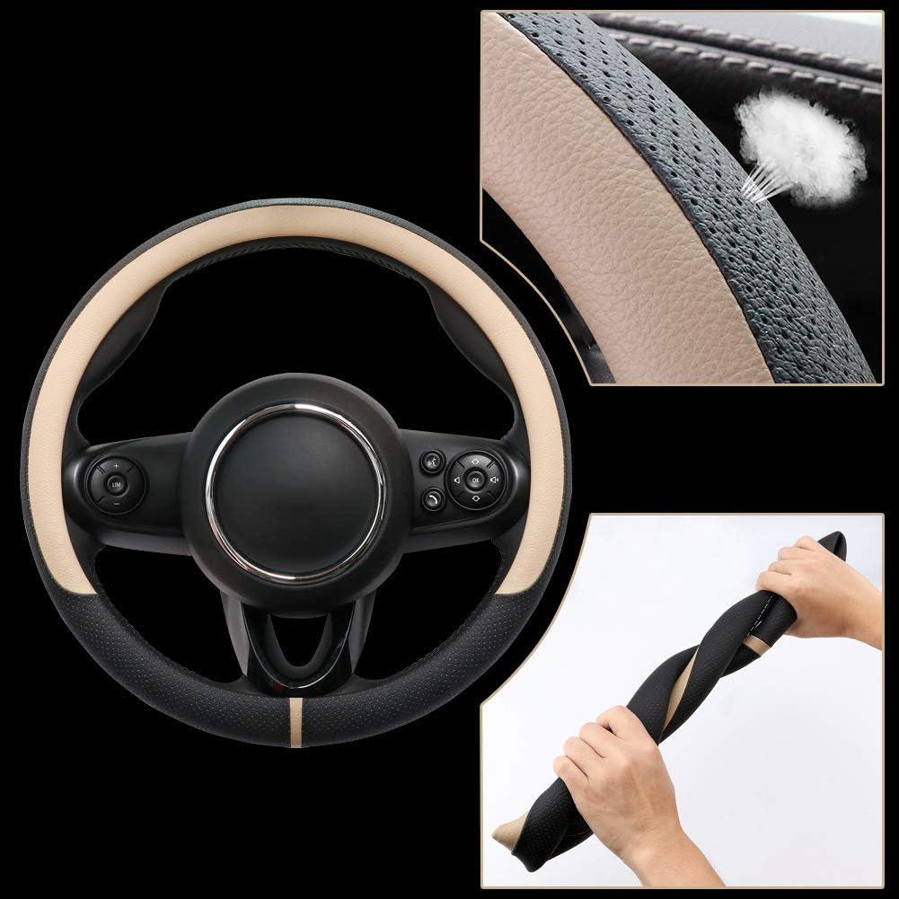 Couvre volant en cuir microfibre pour SUV de camion de voiture souple et confortable antid/érapant grip de 15 sportif Color : Black red, Size : 38cm respirant