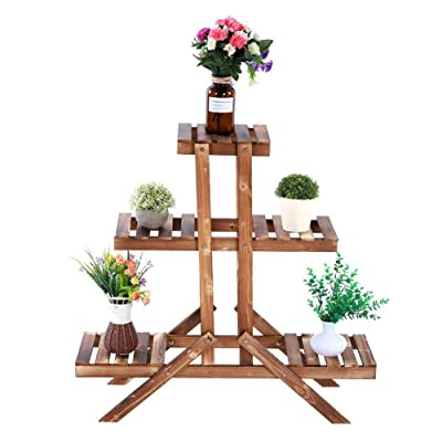 Keenso Flowers Rack, 3 Tier Beautiful Pine Wood Flowers Potted Shelves Plant Stand Fashionable Multifunctional Bonsai Display Shelf Bookcase Plants Holder for Garden Balcony Courtyard Living Room: Sports & Outdoors