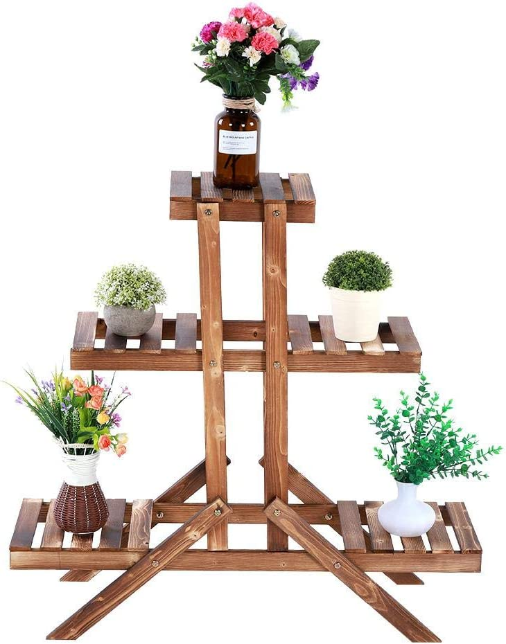 Etag/ère /à Fleurs en Bois Escalier pour Plantes 3 /étages 5 places Porte Pots de Plante Porte-fleurs Support pour Plantes Succulentes Fleurs en Pots Id/éal pour Jardin Balcon Terrasse 85 x 26 x 85 cm