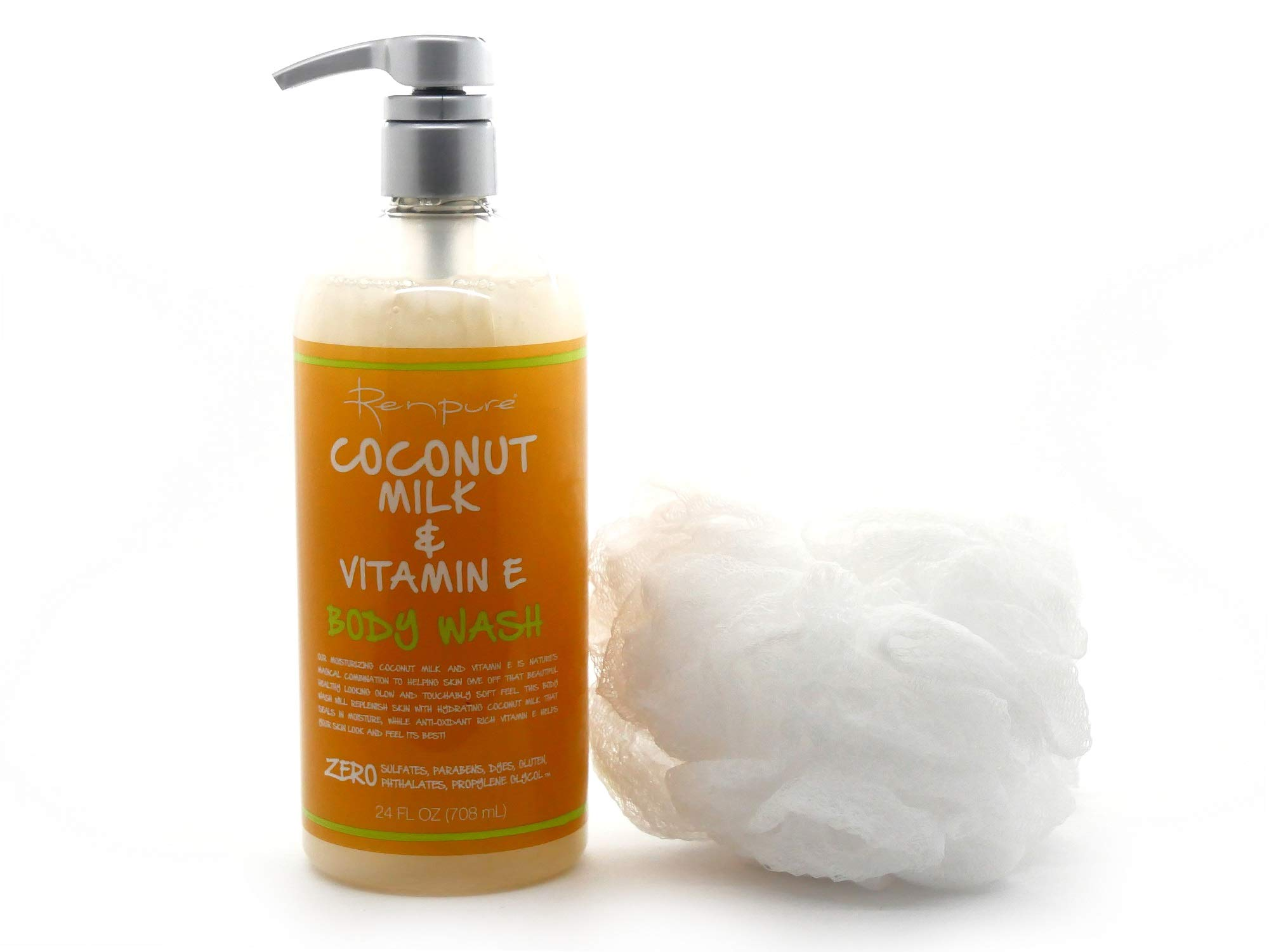 Renpure Coconut Milk & Vitamin E Body Wash! Bundle of Body Wash and Bath Pouf! Soothing Complimentary Set! by RENPURE