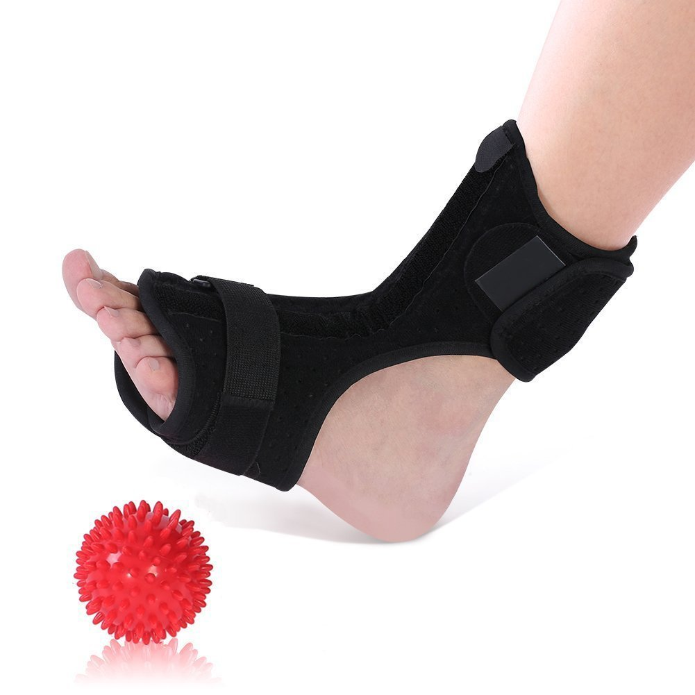 Plantar Fasciitis Night Splints for Drop Foot Orthotic Brace and a Hard Spiky Massage Ball Roller for Women and Men Sleeping and Resting, Fits Both Left and Right Foot