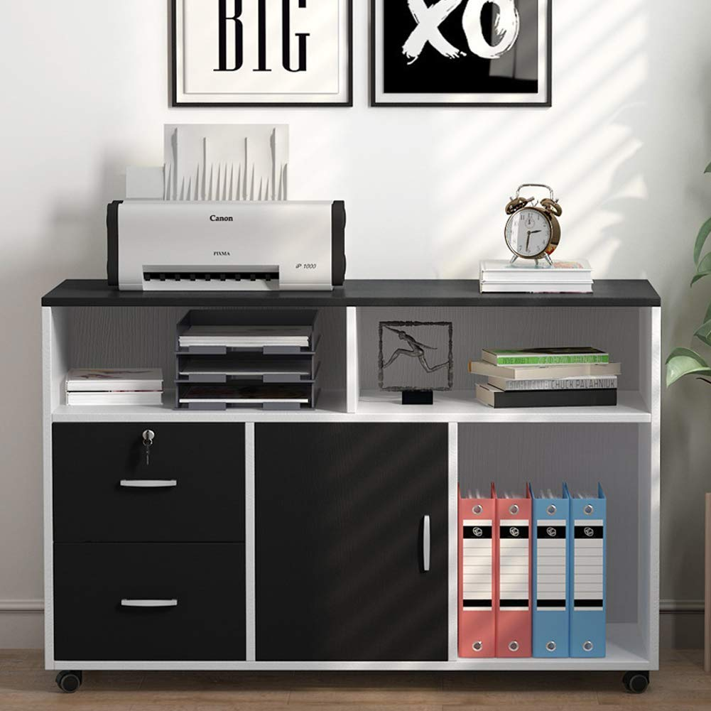 Tribesigns File Cabinet, 2 Drawer Storage Printer Stand, Mobile Lateral Filing Cabinet with Locks and Wheels, Open Storage Shelves for Study, Home Office (Black&White) by Tribesigns