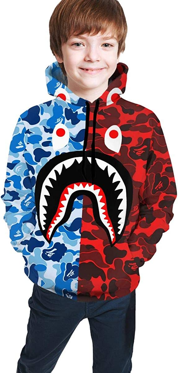 Teen Hoodie Sweatshirt Fashion 3D Print Hooded Gray Pink Bape Blood Shark for Boys Girls 7-20 Years