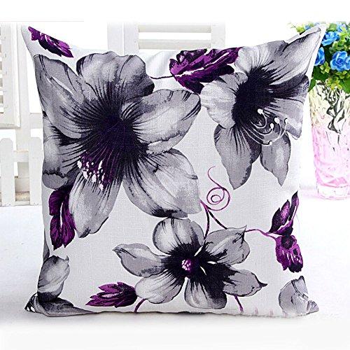 Beautyvan Comfortable Flowers Pattern Sofa Bed Home Decor Pillow Case (Purple)
