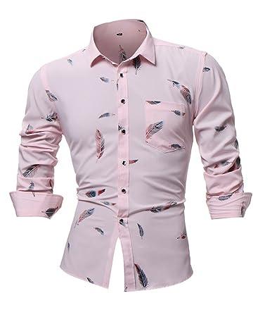 d3bb9e5a1a5 Sunyastor Men s Printed Dress Shirt Cotton Casual Long Sleeve Shirt Regular  Fit Button Down Point Shirt