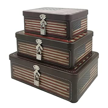 Amazoncom American Flag Decorative Storage Box Fifriver Metal