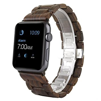 AIYIBEN 2018 New Apple Watch Banda, Correa de Repuesto Madera de la Naturaleza para Apple iWatch Banda para la muñeca (38mm, Brown)