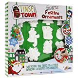 Make Your Own Christmas Decorations Craft Pack - 12 Clay Decorations, Paints, Glitter Glues, Ribbon - by Tinsel Town