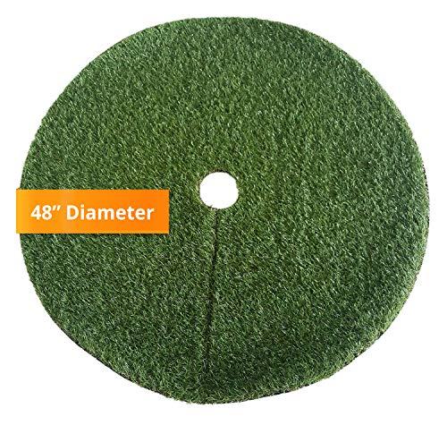 Zen Garden Artificial Grass Christmas Tree Skirt w/Anti-Slip Rubber Base (48