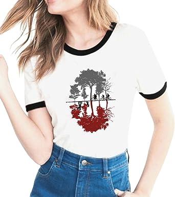 Image ofYuanu Amantes Spring Verano Tamaño Grande Manga Corta Cuello Redondo Camiseta, Suave Cómodo Slim T-Shirt con Cartas/Patrones Temática Impresión sobre Stranger Things