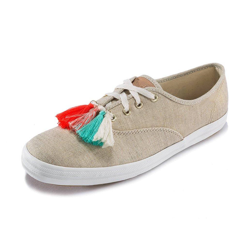 LIUXUEPIN Sommersaison Neue Persönlichkeit Produkte Frau Flache Schuhe Persönlichkeit Neue Straße Segeltuchschuhe Lässig Quaste Schuhe Brown 450fee