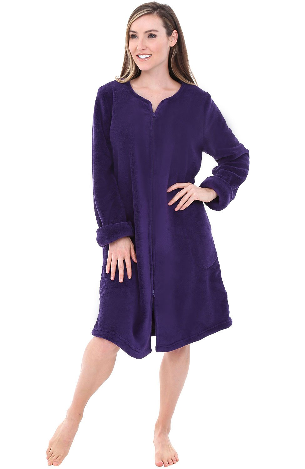 Alexander Del Rossa Womens Fleece Robe, Mid-Length Zip-Front Bathrobe, Large Purple (A0309PURLG)