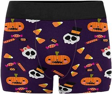 INTERESTPRINT Kids Halloween Pumpkin Ghost Boxer Brief Underwear S