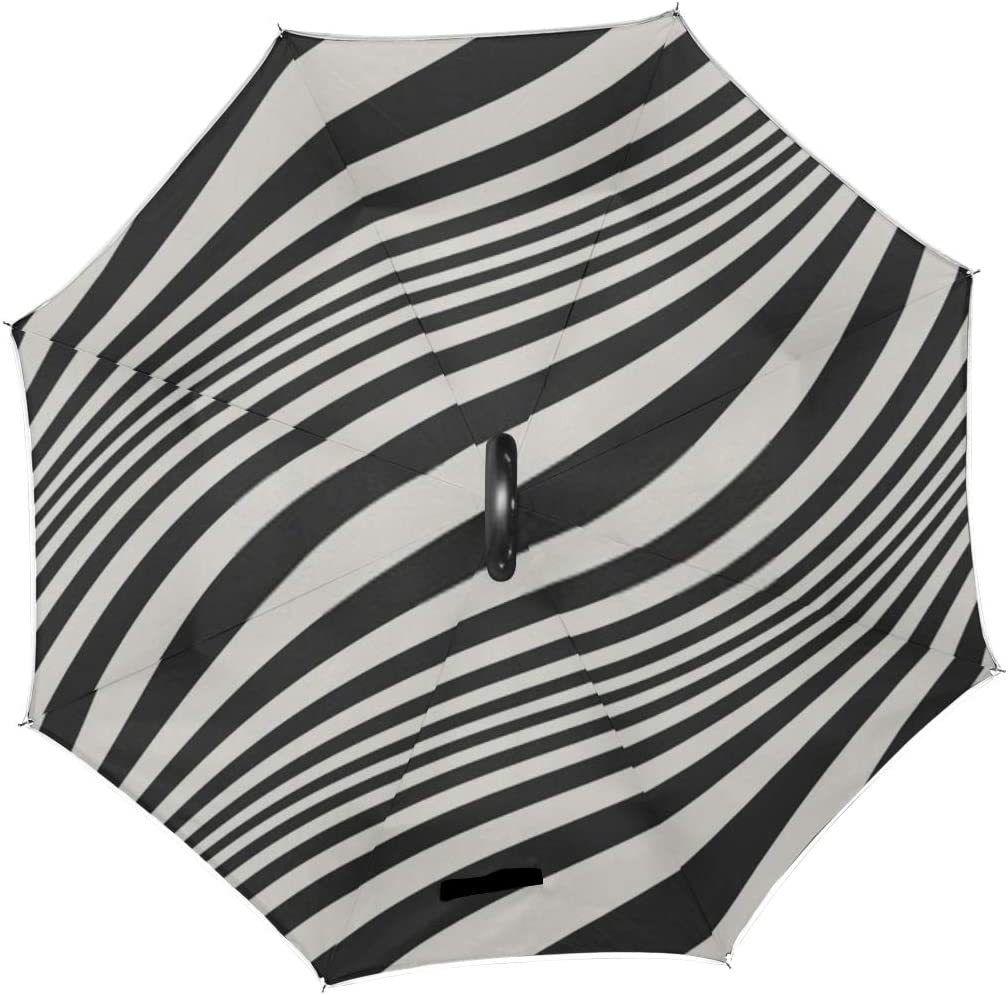 Double Layer Inverted Inverted Umbrella Is Light And Sturdy Abstract Diagonal Wavy Striped Seamless Pattern Reverse Umbrella And Windproof Umbrella E