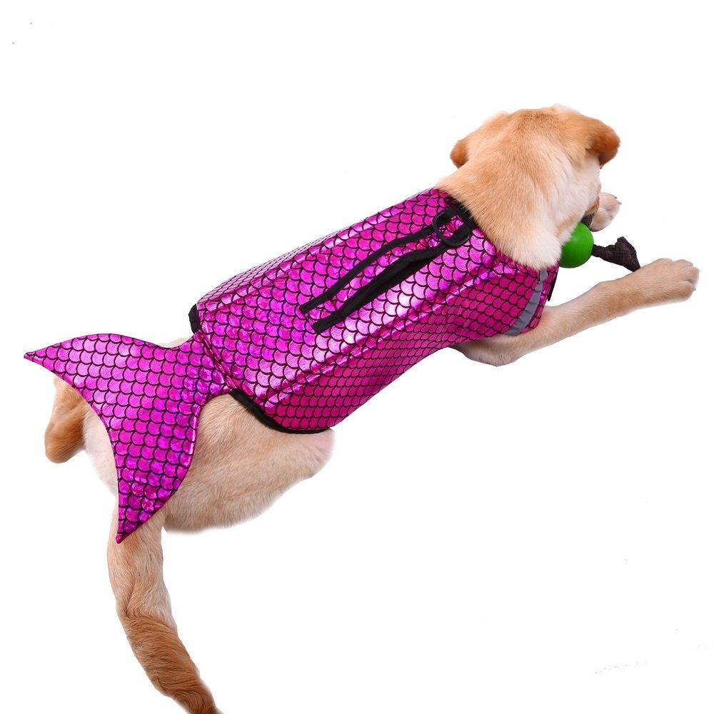 Bonaweite Dog Life Jacket Dogs Lifesaver Pet Life Preserver for Doggie Swimming Pets Floatation Jackets Safety Reflective Vest Adjustable Belt at Beach Pool Boat