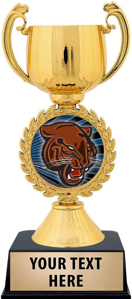 Crown Awards Personalized Mascot Trophy 7.25 Gold Cup Tiger Mascot Trophies with Free Custom Engraving Prime