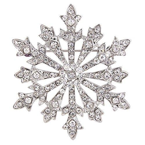 EVER FAITH Women's Austrian Crystal Winter Snowflake Brooch Clear Silver-Tone