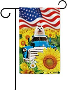 BAGEYOU 4th of July Patriotic Dog Garden Flag Maltese Dog Rustic Sunflowers Farm Retro Old Truck Independence Day Summer Decor Banner for Outside 12.5x18 Inch Print Double Sided
