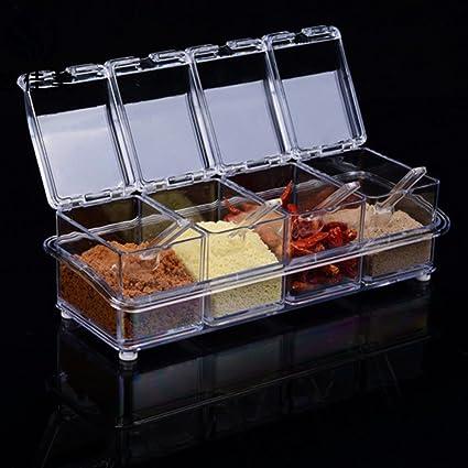 Ruon Deals Transparet Acrylic Seasoning Box Case Condiment Bottles Set Salt  Spice Jar Storage Box Container