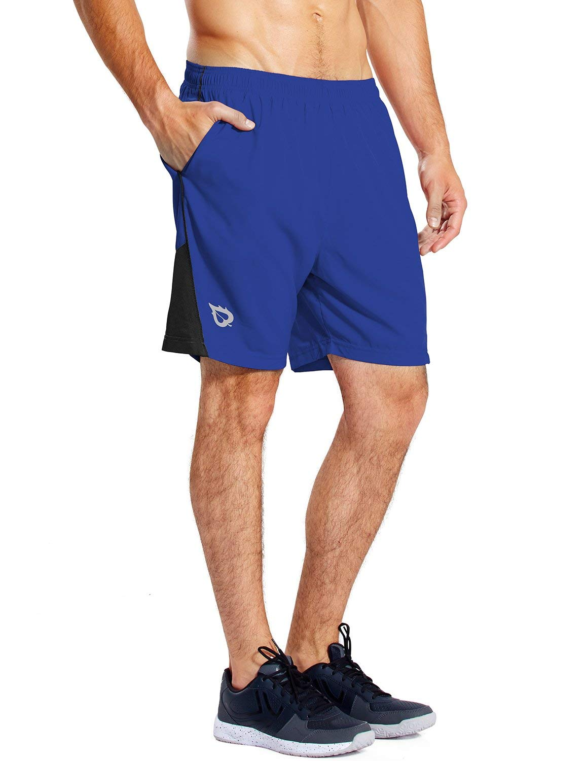 Baleaf Men's 7 Inches Quick Dry Workout Running Shorts Mesh Liner Zip Pockets Royal Blue Size S