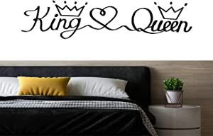 Wall Decals Stickers for Bedroom King Love Queen Crown Removable Vinyl Wall Sticker Home Room Decor Peel & Stick Quotes DIY Decor Gifts