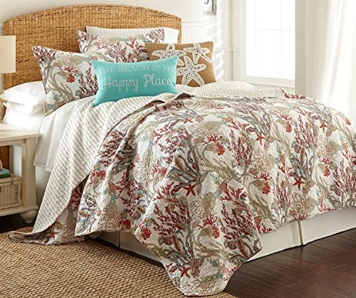 Coastal Coral Reef 3 Piece Full/Queen Size Quilt Set