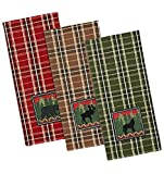 Bear, Wolf and Moose Embroidered Dishtowels - Set of 3