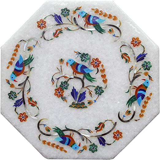 """5/""""x5/"""" White Marble Jewelry Box Lapis Mosaic Inlaid Art Collectible Gifts Decor"""