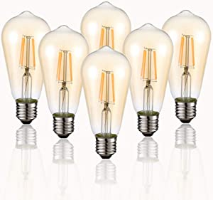 Vintage Edison LED Bulb, 6-Pack ST58 E26 40 Watt Equivalent, Warm White 2200K-2700K, Antique Vintage Style Light, Squirrel Cage Filament Edison Light Bulbs Amber Glass,Non Dimmable