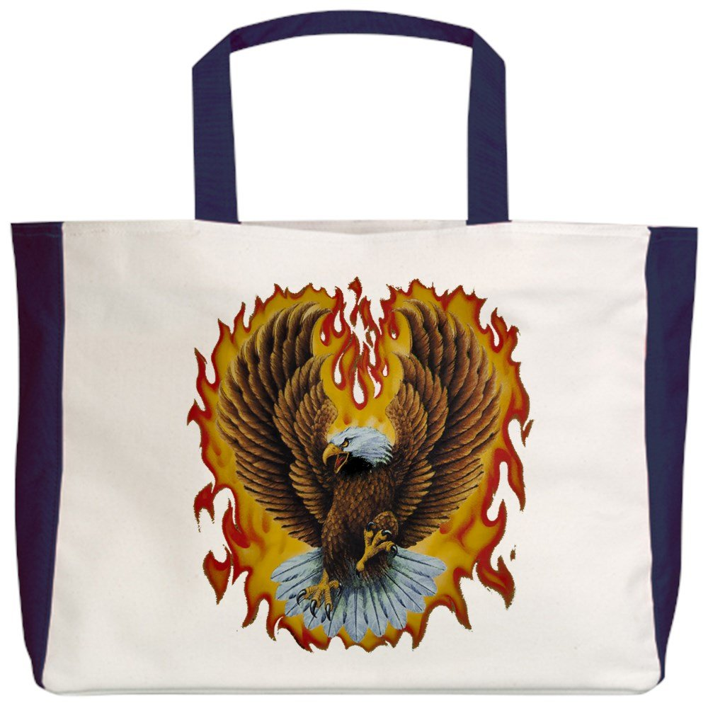 Eagle with Flames 2-Sided Royal Lion Beach Tote