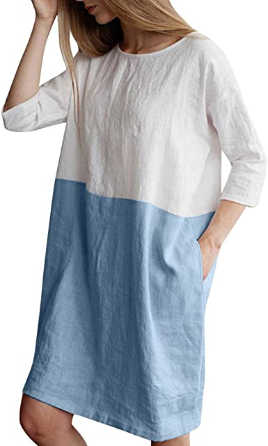 Mr Macy Women Casual Patchwork 1 2 Sleeved Cotton Linen Loose Pocket Tunic Dress At Amazon Women S Clothing Store