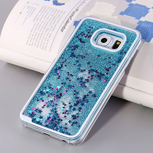 Tech Express (Tm) Stars and Glitter Liquid Water Aqua Movable Quicksand Dynamic Air Clear Hard Cover Case for Samsung Galaxy S6 G920 (Baby Blue W/ Pink Stars)