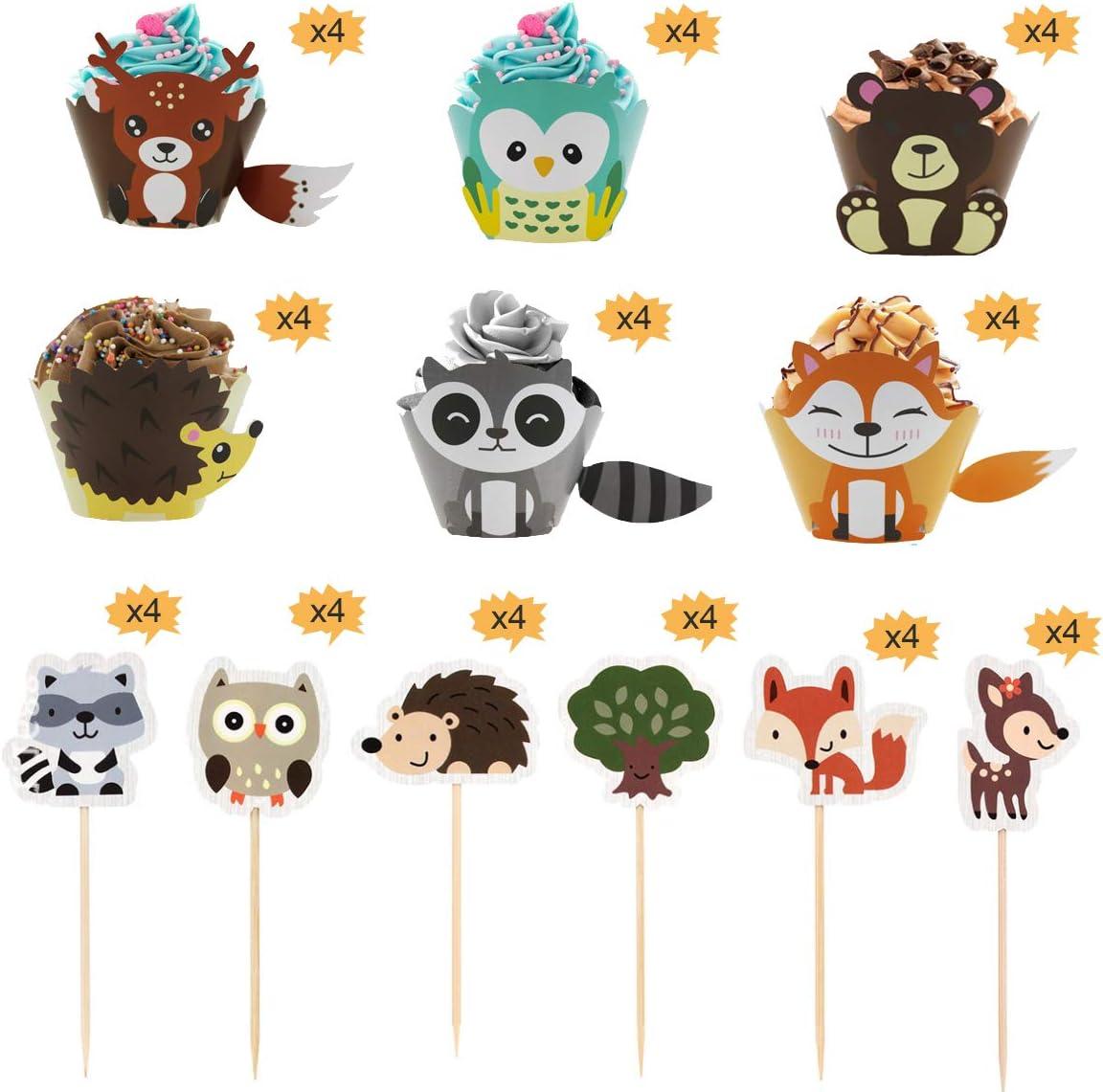 Lion pour Gar/çons Singe Z/èbre F/ête danniversaire pour Enfants Baby Shower Keleily Dinosaur Cupcake Topper 45pcs Topper Cupcake Animaux Jungle et Wrapper y Compris /Él/éphant