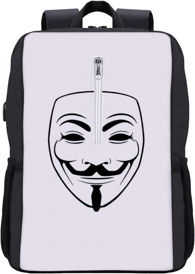 Trucker Cap WhiteBlack Backpack Daypack Rucksack Laptop Shoulder Bag with USB Charging Port Mask V for Vendetta Anonymous