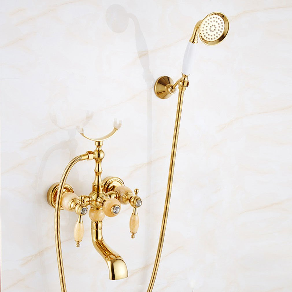 ETERNAL QUALITY Bathroom Sink Basin Tap Brass Mixer Tap Washroom Mixer Faucet The golden bath easy full copper hot and cold water shower faucet A Kitchen Sink Taps