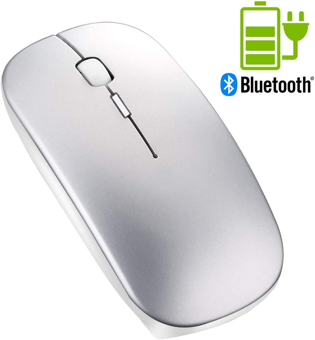 Ratón Bluetooth sin Receptor - Tsmine Ratón Inalámbrico Recargable con Clique Silencioso, Bluetooth Wireless Mouse Ratón Óptico para Macbook pro, Ordenador, Computadora Portátil, Tableta