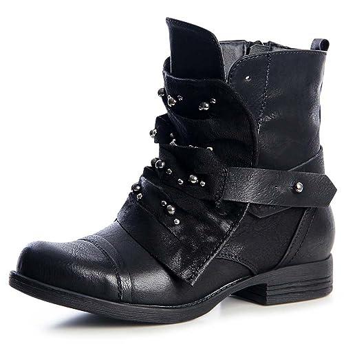 brand new 2e233 e29f3 topschuhe24 1339 Damen Worker Biker Boots Stiefeletten ...