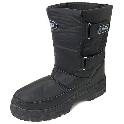 Alk VK-3100CS Men's Snow Boots Winter Boots Cold Weather Nylon Ski Warm Fur Lined Snow Shoes, Black | Snow Boots