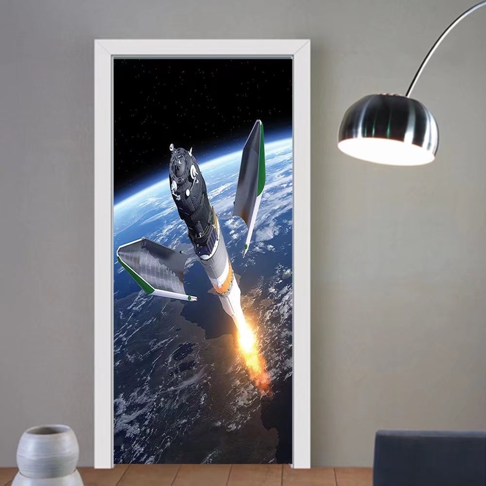 Gzhihine custom made 3d door stickers Outer Space Decor Rocket Taking Off on Mission Spaceman Planet Gazing Endeavour Power Fire Print Decor White Blue Brown For Room Decor 30x79