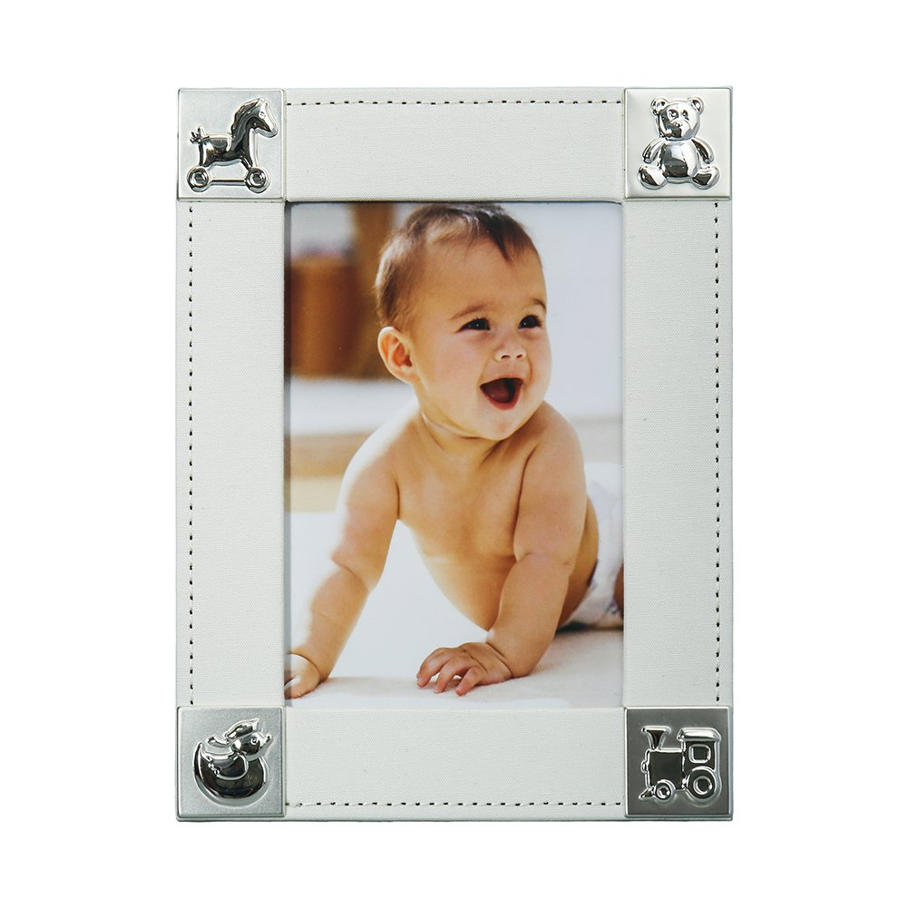Fine & Elegant Baby Photo Frame 5x7'' Perfect Gift for a Boy or Girl Newborn with Silver Plated Corners (Design: Animals) by Modali Baby USA by Modali Baby (Image #2)