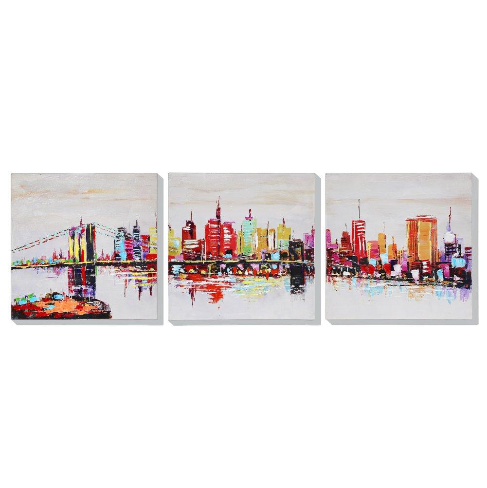 Asmork 近代美術ランドスケープ 油彩画 ニューヨーク港 100%手描き 油彩画壁のデコレーションキャンバス絵画抽象芸術作品‐最高のプレゼント リビング、ダイニング、寝室、お風呂、オフィス、バー、30*30cm*3pcs B01M1525W0