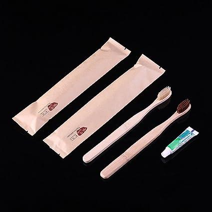 Cepillo de dientes de mango de bambú de cerdas suaves con 1 pasta de dientes Mini
