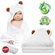 Baby Towel and Washcloth Set-Baby Bath Towel and Washcloth -Hooded Towel and Washcloth- Bamboo Fiber Hooded Baby Towel for Boys, Girls, Kids, Toddlers, Newborn Bath Present(35 by 35in)
