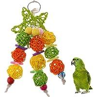 JannahMehr Bird Toys,Wood Stars Rattan Balls Pet Bird Cockatoo Parrot Hanging Chewing Toy for Parrots, Parakeets, Macaws…